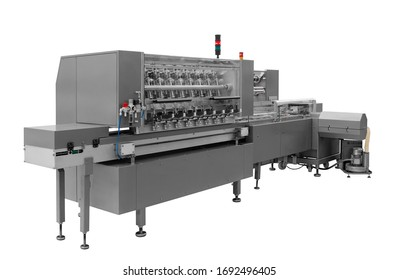 Automatic packing machine with plastic bag and paper box, high speed packing machine for food product industrial, high technology manufacturing process Isolated on white background