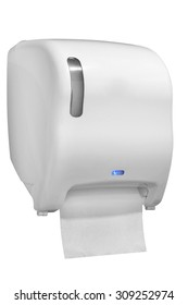 Automatic paper towel dispenser made of white plastic