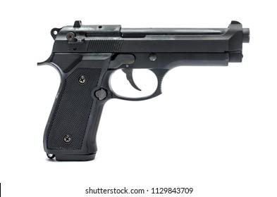 automatic pistol, handgun  on a white background