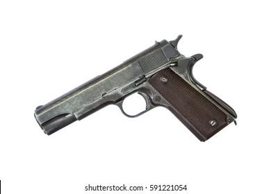 automatic pistol  handgun on white background