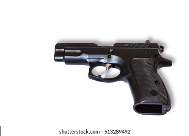 automatic pistol handgun weapon isolated on white background