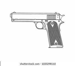 Automatic pistol. Painting.