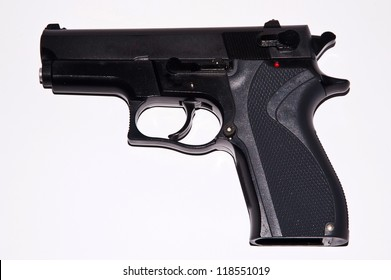 automatic pistols on white backgrounds