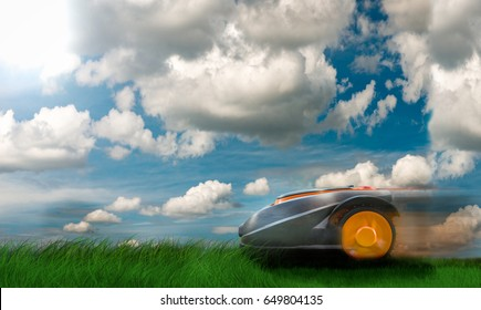 Automatic robot lawn mower against dramatic sky