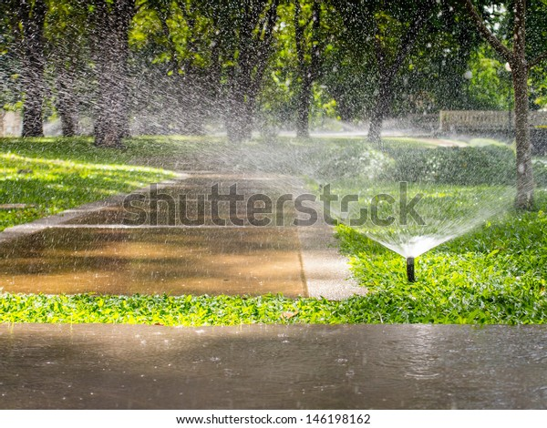 Automatic sprinkler watering in the garden