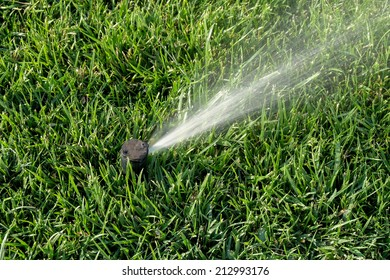Automatic sprinklers watering grass. Sprinkler system working on fresh green grass