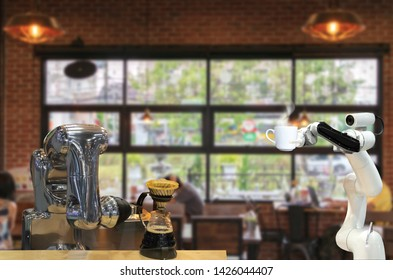 Automatic technology drink shop robot artificial intelligence serving coffee