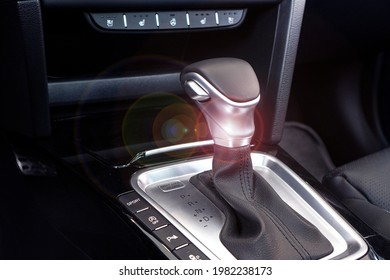 Automatic transmission background. Gear shifter closeup. Driving and speed concept.