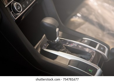 Automatic transmission gear of car, interior car detail.