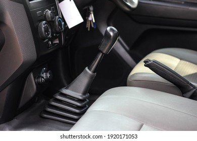 automatic transmission shift selector in the car interior. Closeup a manual shift of modern car gear shifter.