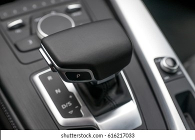 Automatic Transmission Stick and Elegant Car Interior with Silver Elements