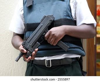 Automatic uzi machine gun, hand hald, close up