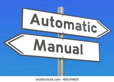 automatic vs manual concept, 3D rendering