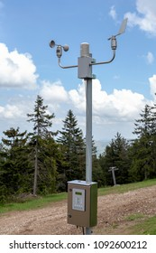 Automatic weather station for monitoring ambient air pressure, humidity, temperature, wind speed and direction. Meteorological system station with anemometer and wind vane.