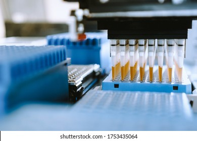 Automation in the clinical laboratory. Pipetting robot laboratory. Medicine robotics. Research and science background