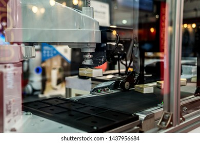 automation machine and detail close up in machine automatic with robotic automation technology for technology production factory