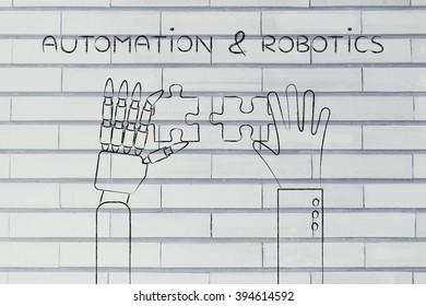 automation & robotics: human and robot hands solving a puzzle