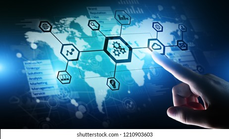 Automation and smart industry 4.0, Internet of things (IOT), Gears and system structure on virtual screen. Business and technology concept.