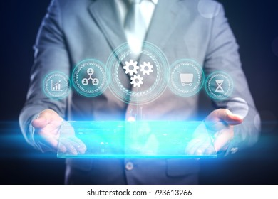 Automation Software Technology. Protect business mechanism concept.