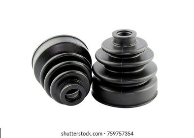 Automobile axle boots or CV boots on white background.Spare parts for cars
