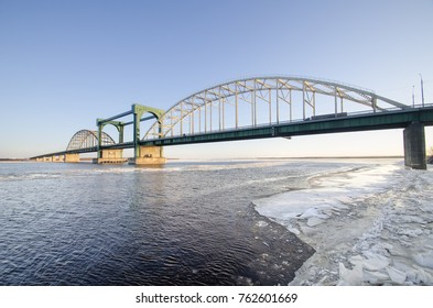 The automobile bridge across the Northern Dvina. The Krasnoflotsky bridge. Russia, Arkhangelsk