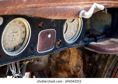 Automobile dash from vintage automobile
