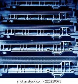 Automobile factory shelves, a new condenser.