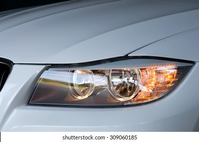 Automobile Headlight at Night