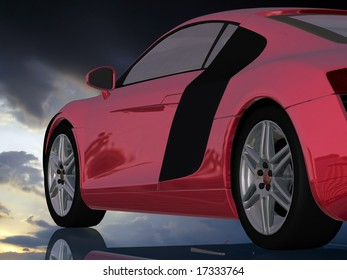 The automobile on a mirror background
