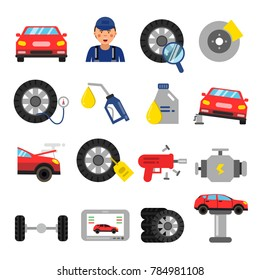 Automobile parts. Wheels and tires service of cars. pictures in flat style. Automobile service repair and auto maintenance illustration