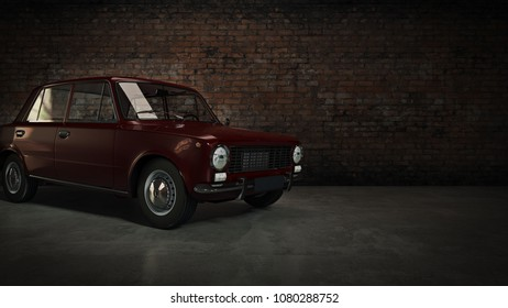 Automobile retro. 3d rendering