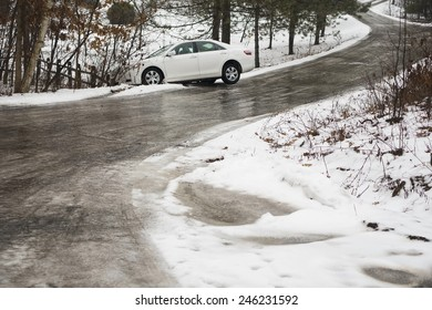 automobile slid off icy winding road