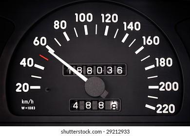 Automobile speedometer is photografed close-up