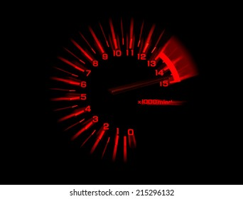 automobile tachometer on black background speedometer