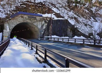 Automobile Tunnel at Gassho-zukuri Village/Shirakawago