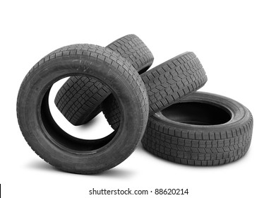 Automobile tyre covers were in the use. It is isolated on a white background