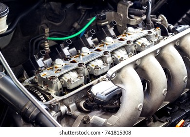 Automobile valve system of car engine maintenance and service concept