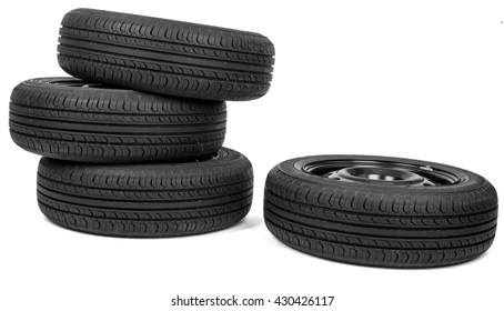 Automobile wheels with discs isolated on white background