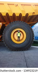 Automobiles are giants produced at the BELAZ  Automobile Plant in Zhodino. Belorussia. October 22, 2018