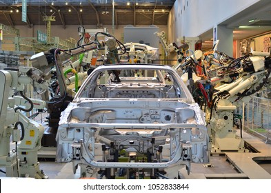 Automotive assembly industry exhibition at Toyota factory tour and museums, Nagoya, Japan - Mar 7 2018
