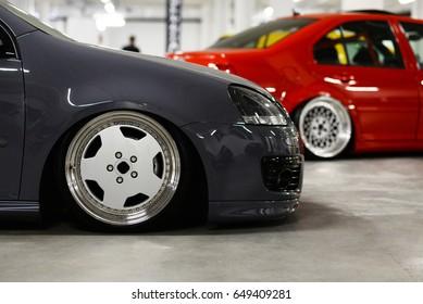 automotive backround - wheel rims in garage