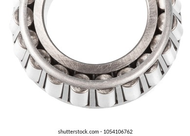 automotive bearings. tapered roller bearing isolated on a white background. top view. Close up