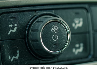 Automotive climate control knob. Used to adjust the temperature in the vehicle.