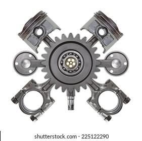 An automotive crest made up of random engine parts.