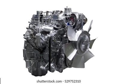 Automotive engine of car isolated on white background.