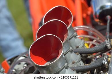 Automotive: Engine parts taken at a car show.