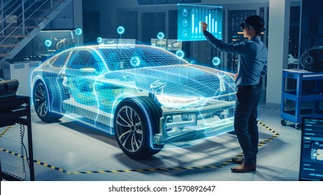 Automotive Engineer Use Virtual Reality Headset for Virtual Electric Car 3D Model Design Analysis and Improvement. 3D Graphics Visualization Shows Fully Developed Vehicle Prototype Analysed, Optimized