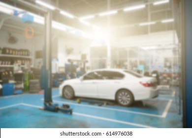 automotive garage interior, Light flare effect and blurry image