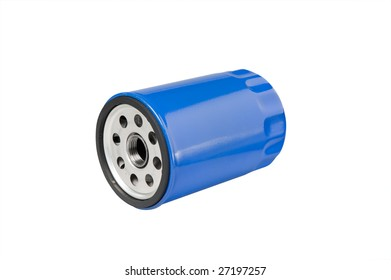 Automotive or small truck oil filter. Clipping path on object.