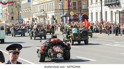 "Automotive stocks in ""Immortal regiment."" St. Petersburg, Russia - 9 May, 2016. Memory Action ""Immortal regiment"" in St. Petersburg."